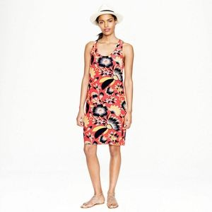 J. Crew Twist-Back Silk Dress in Hibiscus Floral